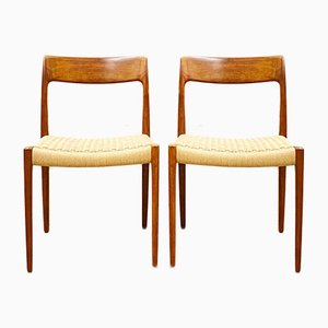 Mid-Century Danish Model 77 Chairs in Teak by Niels O Møller for J L Møllers Møbelfabrik, 1950s, Set of 2