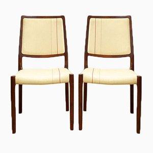Dänische Mid-Century Mahagoni Stühle von Niels O Møller für JL Møllers Møbelfabrik, 1950er, 2er Set