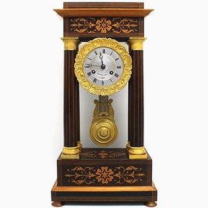 Antique Charles X Inlaid Portico Clock with Pendulum, 19th Century