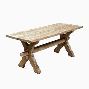 Tavolino da caffè rustico in legno di quercia sbiancato, Francia