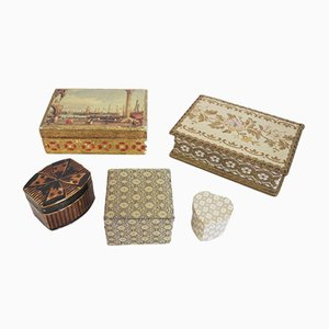 Venice Boxes in Fabric and Wood, 1970s, Set of 5