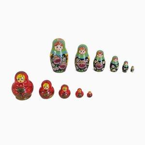 Russische handbemalte Matrjoschka Puppen, 1970er, 11er Set