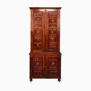 19th Century English Mahogany Estate Office Cabinet, 1890s