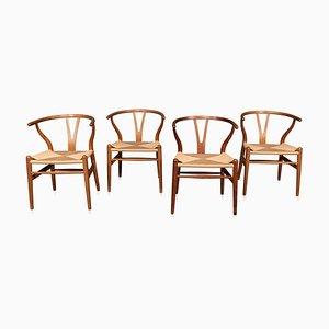 Chaises de Salon Wishbone du 20ème Siècle par Hans J Wegners pour Carl Hansen & Søn, 1960s, Set de 4