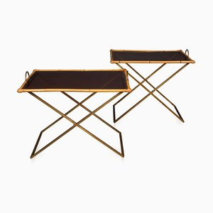 20th Century Bamboo & Brass Butler Tables, 1970s, Set of 2