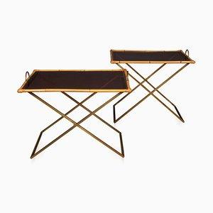 20th Century Bambus & Messing Butler Tische, 1970er, 2er Set