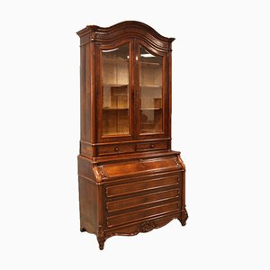 Antique Louis Philippe Trumeau Display Bookcase with Fold-Out Desk, 19th Century