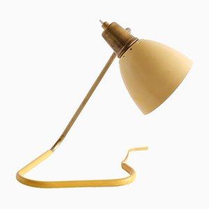 Tischlampe mit verstellbarem gelbem Schirm von Robert Caillat, Frankreich, 1950er