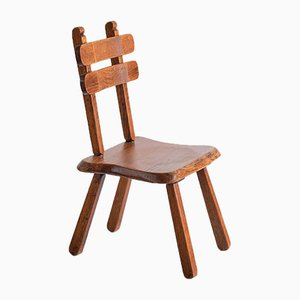 Brutalist Handcrafted Dining Chairs in Solid Oak, France, 1960s, Set of 4