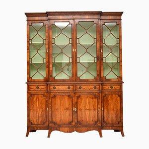 Antique Sheraton Style Yew Breakfront Bookcase