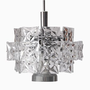 German Chromed Chandelier with Crystals from Kinkeldey, 1960s