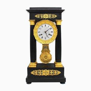 Antique Empire Portico Clock with Pendulum, 19th Century