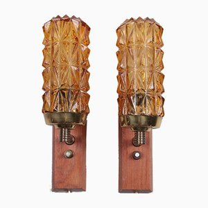 Danish Teak Wall Lamps with Brass and Glass, Set of 2