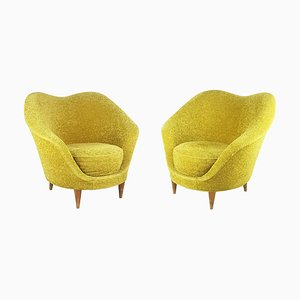 Sculptural Light Green Velvet Armchairs with Wooden Legs Attributed to Federico Munari, 1950s, Set of 2