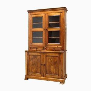 Antique Louis Philippe Walnut Bookcase or Showcase Credenza, 19th Century