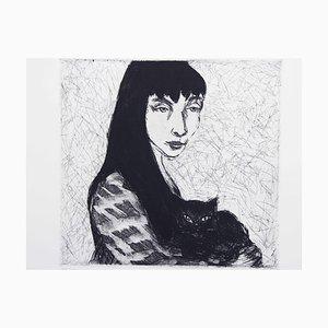 La niña y el gato, grabado de Gustav Stettler, 1972