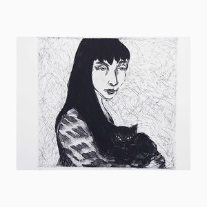 The Girl and the Cat, Engraving par Gustav Stettler, 1972