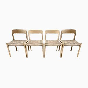 Restored Model 75 Dining Chairs by Niels Otto Møller, Set of 4
