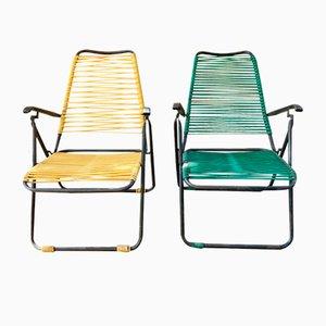 Chaises Longues Inclinables en Teck Noir et Tissage PVC, 1960s, Set de 2