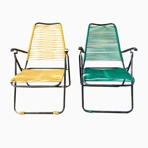 Reclining Deckchairs in Black Iron and PVC Weave, 1960s, Set of 2