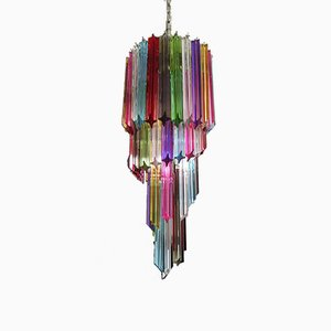 Multi-Colored Murano Glass Mariangela Chandelier with 54 Prismatic Crystals
