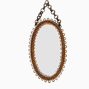 Mid-Century Modern Oval Wall Mirror in Wicker and Bamboo, Italy, 1960s