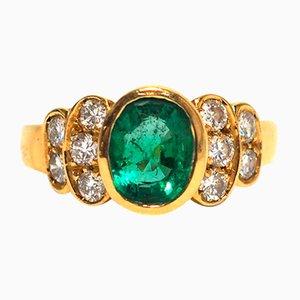Bague Dorée avec Diamants et Émeraude