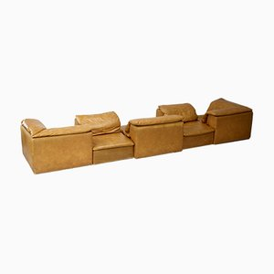 Armless Sofa Modules in Foam & Leatherette, France, 1970s, Set of 5