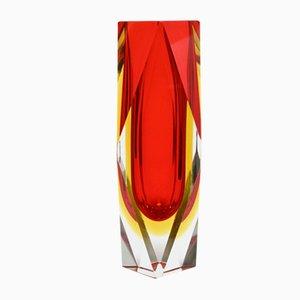 Facettierte Murano Glas Sommerso Glasvase von Mandruzzato, 1960er