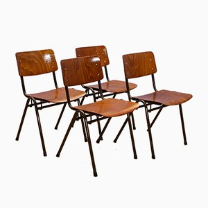 Dutch Teak and Plywood Dining Chairs, 1970s, Set of 4