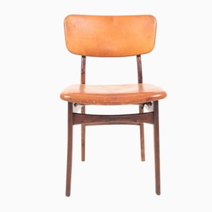 Mid-Century Side Chair in Rosewood and Patinated Leather by Gustav Bertelsen