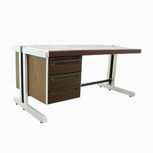 Big Desk in Leather and Aluminum, 1980s