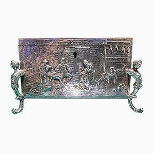 Silberne Schachtel mit abschließbarem Deckel & vergoldetem Interieur aus dem 19. Jahrhundert von Georg Roth & Co Hanau, 1700er