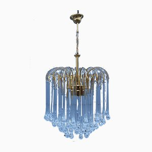 Drop Chandelier with Gilt Frame from Venini, Italy, 1970s