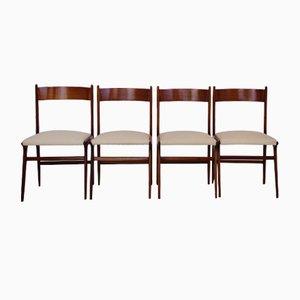 Vintage Stühle im Dänischen Stil mit Strukturiertem Stoff in Hellbeige, 4er Set