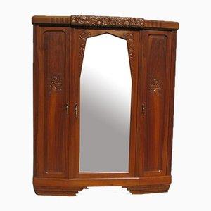 Art Deco Kleiderschrank oder Wäscheschrank mit 3 Türen aus Nussholz