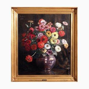 Danish Flower Painting, Oil on Canvas
