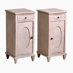Gustavian Styles Carved Nightstands, Set of 2