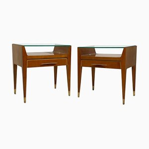 Mid-Century Italian Bedside Tables with Brass Handles and Feet, Set of 2