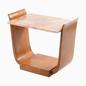 Art Deco Italian U-Shaped Side Table with Onyx Top
