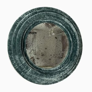 Small Round Wall Mirror in Turquoise Velvet