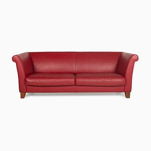 3-Seater Red Wine Ritz Leather Sofa from Machalke