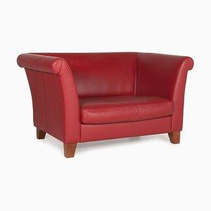 3-Seater Red Wine Ritz Leather Loveseat from Machalke