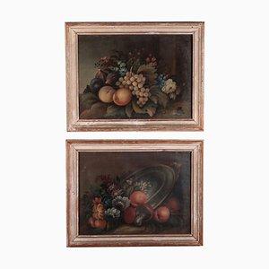 Dipinti a forma di natura morta con fiori e frutta, set di 2