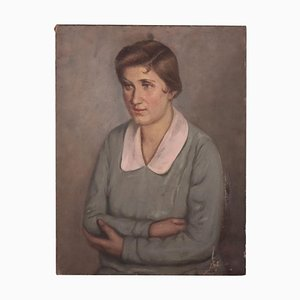 Portrait Femme, Peinture à l'Huile sur Toile