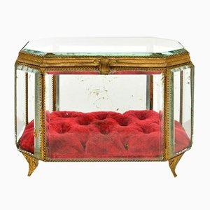 Glass & Brass Jewelry Box