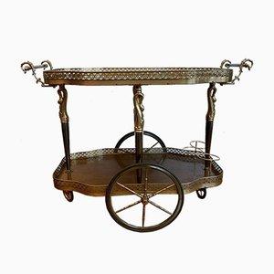 Chariot de Bar Néoclassique avec Cadre en Laiton Doré à Roulettes