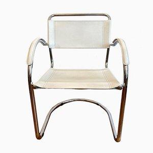 Sedia cantilever con struttura in metallo cromato e pelle