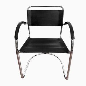 Cantilever Chair with a Chrome and Leather Frame