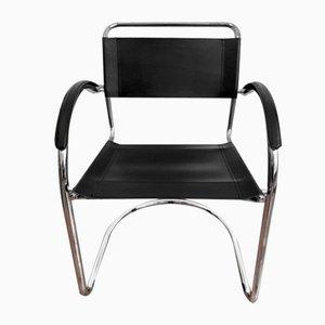 Chaise Cantilever avec un Cadre en Chrome et en Cuir
